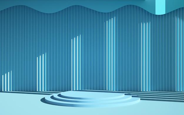 3d-рендеринг синей полосатой сцены и подиума геометрической формы Premium Фотографии