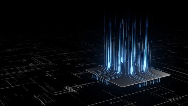 グロー回路基板の背景を持つマイクロチップ上のデジタルバイナリデータの3dレンダリング。 Premium写真