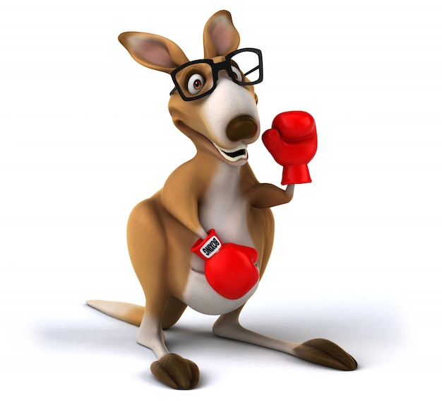 3d-рендеринг смешного кенгуру Premium Фотографии