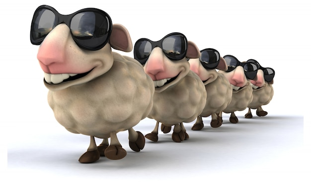 面白い羊の3dレンダリング Premium写真