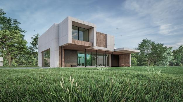 Визуализация 3d визуализации дома Premium Фотографии