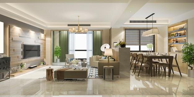 3d-рендеринг роскошной современной столовой и гостиной Premium Фотографии