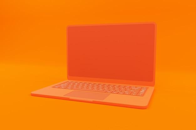 3d-рендеринг оранжевой иллюстрации ноутбука Premium Фотографии