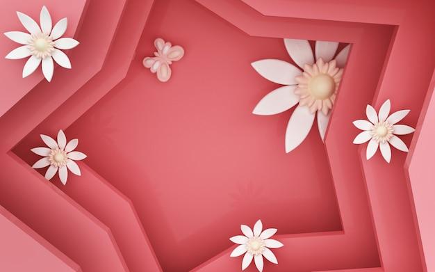 꽃 장식과 붉은 별 배경의 3d 렌더링 프리미엄 사진