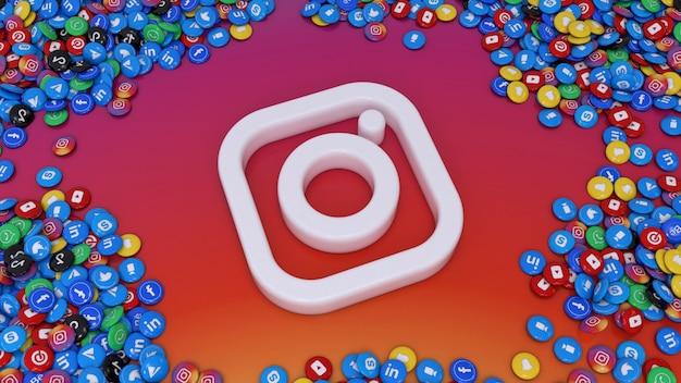 3d-рендеринг логотипа социальных сетей в окружении множества самых популярных глянцевых таблеток социальных сетей на красочном фоне Premium Фотографии