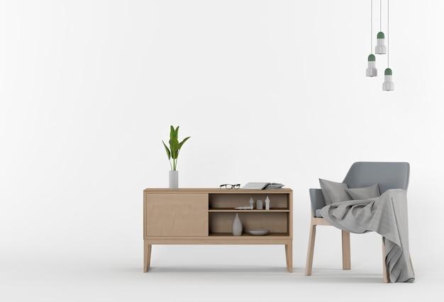 アームチェアと装飾を備えたスタジオの3dレンダリング Premium写真