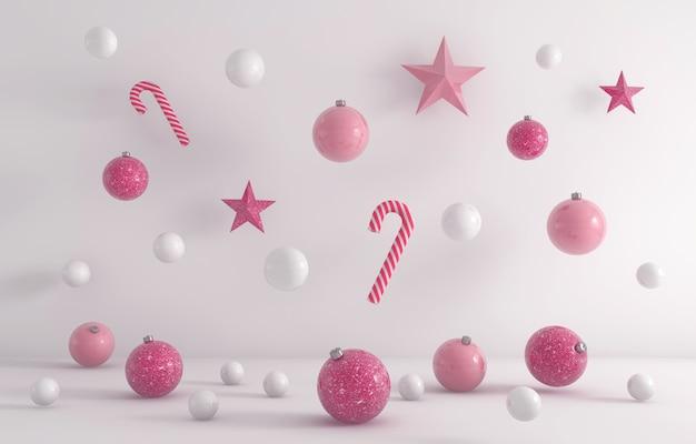 白の背景にぶら下がっている白とピンクのクリスマスの飾りの3dレンダリング 無料写真