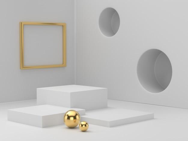 명확 하 게 배경, 뷰티 화장품에 대 한 추상 최소한의 연단 빈 공간에 화이트 골드 받침대 연단의 3d 렌더링 프리미엄 사진
