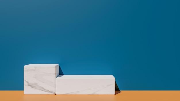 흰색 대리석 기하학적 연단과 추상적 인 개념에 현대 벽지의 3d 렌더링. 프리미엄 사진