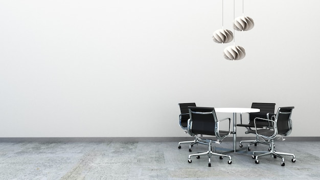 3d rendering of office chairs with round table on the concrete floor decorated with ceiling lamps. office furniture with copy space. small meeting area. Premium Photo