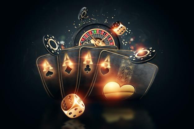 オンラインギャンブルの3dレンダリング Premium写真