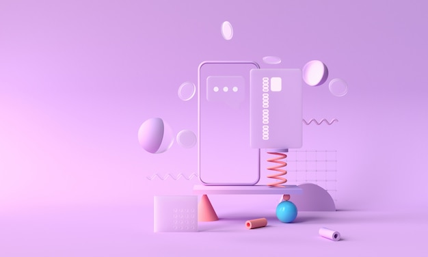 3d rendering payment via credit card concept. secure online payment transaction with phone. internet banking via credit card on mobile. geometric object floating background Premium Photo