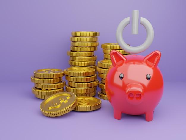コイン付きの3dレンダリング貯金箱、節約を開始するための時間の画像、またはお金を節約するためのソリューション Premium写真