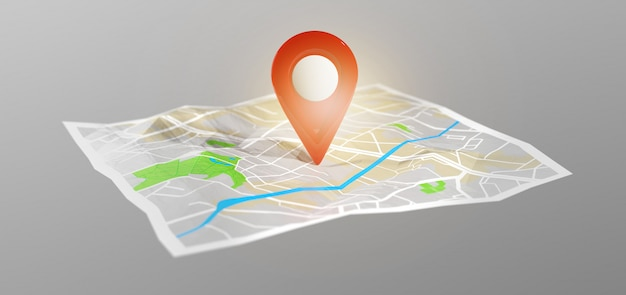 3d rendering pin holder on a map Premium Photo