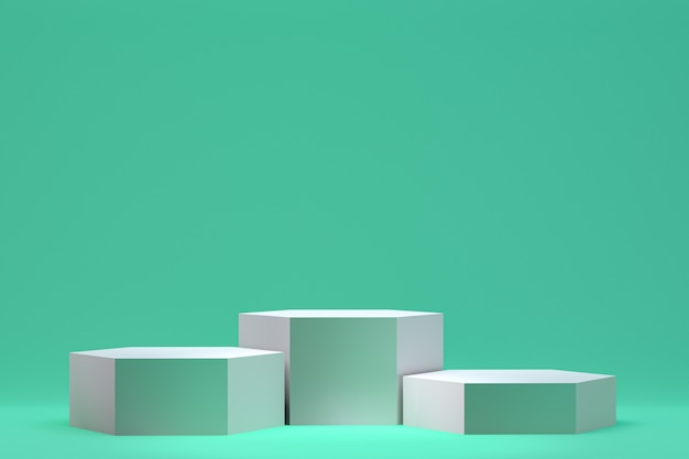 3 dレンダリング、化粧品のプレゼンテーション、抽象的な幾何学的形状の表彰台最小限の抽象的な背景 Premium写真
