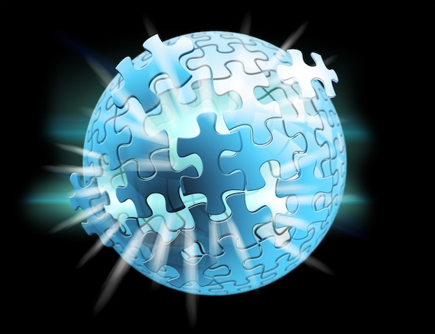 3d rendering puzzle sphere Premium Photo