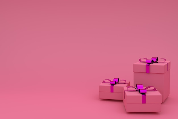 3d rendering of realistic pink gift box with ribbon bow on  pink  . empty copyspace for party, promotion social media banners, posters, birthday, new year or christmas Premium Photo