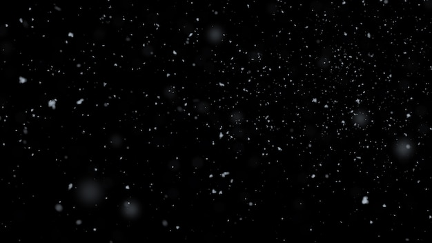3d rendering. realistic snow falling on black background. Premium Photo