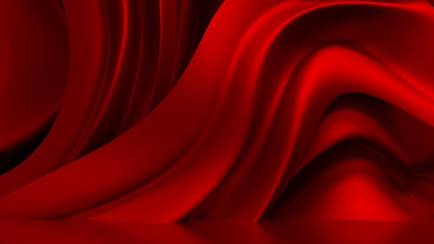 3d rendering red background with drapery fabric Premium Photo