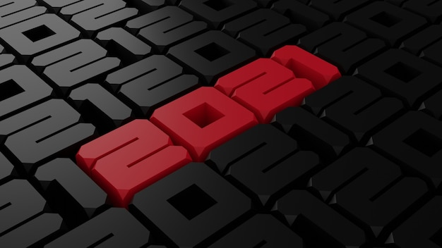 3d rendering of red and black 2012 new year illustration Premium Photo