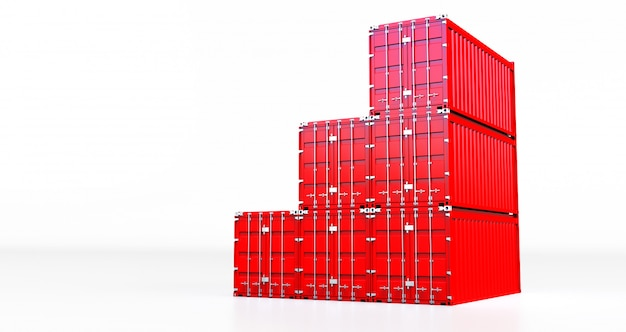 3d rendering of red cargo container isolated on white background. containers box from cargo freight