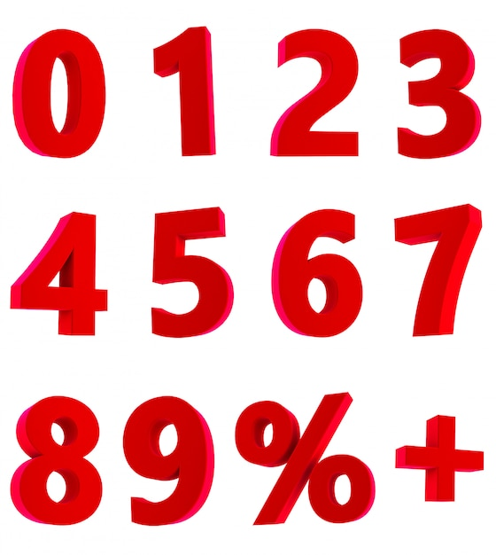 3d rendering of red numbers 1 2 3 4 5 6 7 8 9 0 % + on white background Premium Photo
