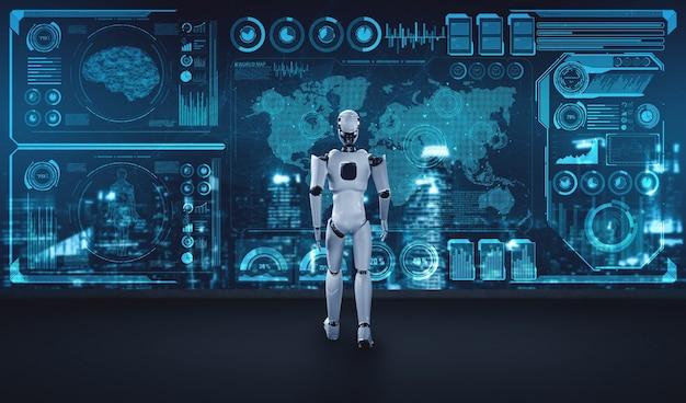 Робот-гуманоид 3d-рендеринга анализирует большие данные с помощью искусственного интеллекта Premium Фотографии