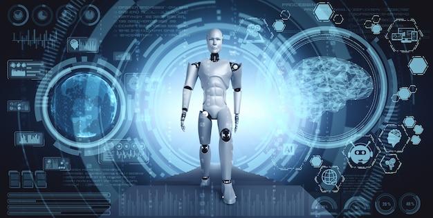 3d-рендеринг робота-гуманоида в фантастическом мире фантастики Premium Фотографии
