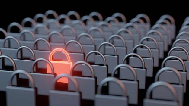 3d rendering of rows and columns of steel iron pad locks with one stand out in glowing red hot metal. Premium Photo