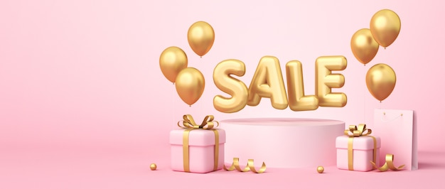 3d rendering of sale banner on pink background. sale word, balloons, shopping bag, gift boxes, gold