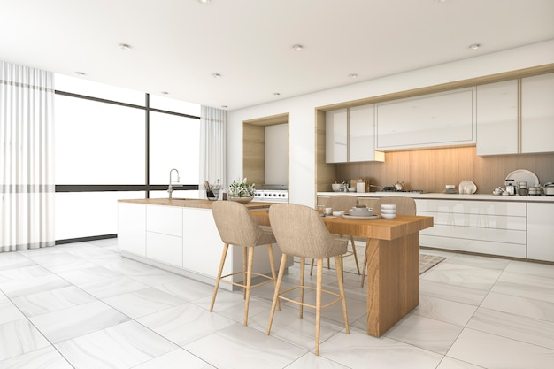 3d rendering scandinavian kitchen and dining room with nice tile Premium Photo