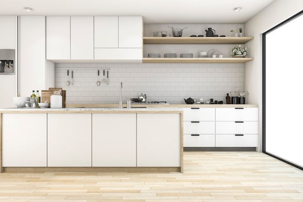 3d rendering scandinavian kitchen with white tone design Premium Photo