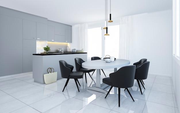 Premium Photo 3d Rendering Scandinavian Vintage Modern Minimal Kitchen With White Dining Area