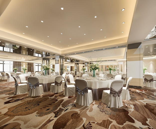3d rendering seminar meeting and banquet hall room Free Photo
