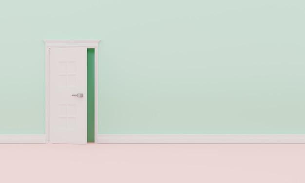 3d 렌더링 단일 열린 문입니다. 빈 파스텔 벽 인테리어 프리미엄 사진