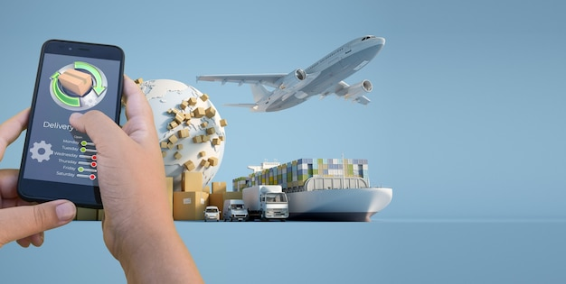 3d rendering of a smartphone delivery tracking app with an airplane, truck, ship and van on the background Premium Photo
