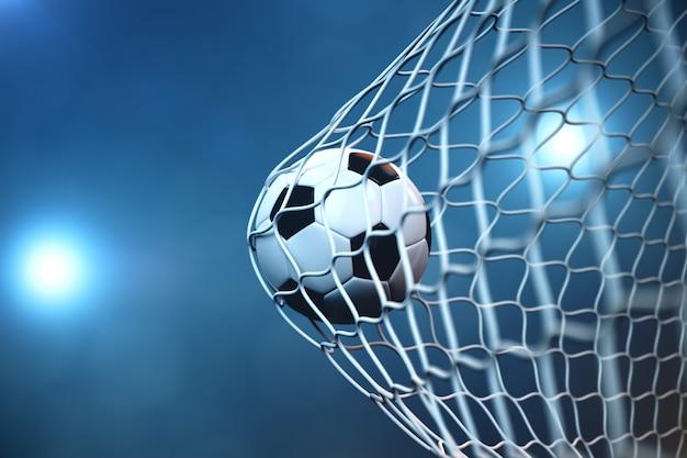 Футбольный мяч перевода 3d в цели. футбольный мяч в сети с предпосылкой фары или стадиона светлой, концепцией успеха Premium Фотографии