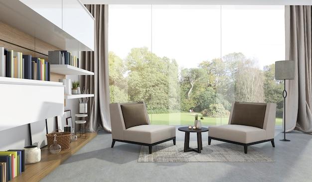 3d rendering soft armchair in living room near garden Premium Photo