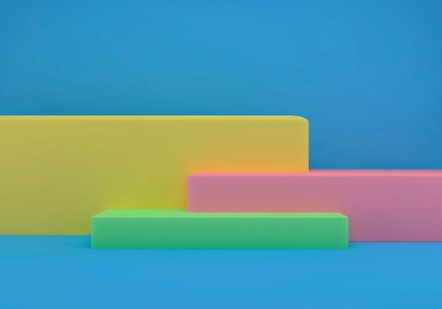 幾何学的形状の3dレンダリングスタジオ、床に表彰台 Premium写真