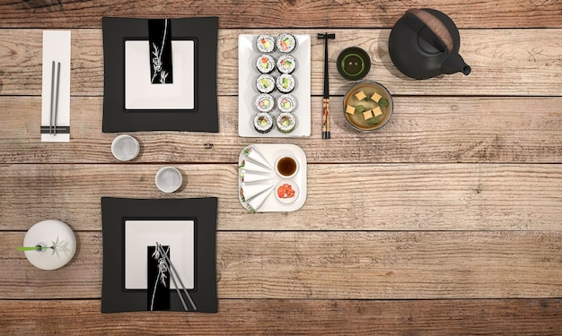 3d rendering sushi plate with black bowl soup on dining table Premium Photo