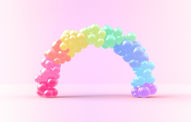 3d rendering. sweet rainbow arch frame with candy ballloons backdrop Premium Photo