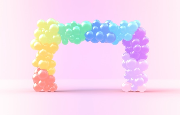 3d rendering. sweet rainbow square frame with candy ballloons backdrop Premium Photo