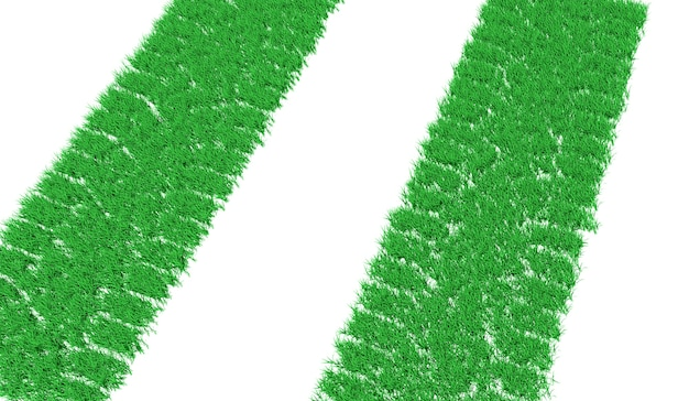 3d rendering track from car tires overgrown with green grass Premium Photo