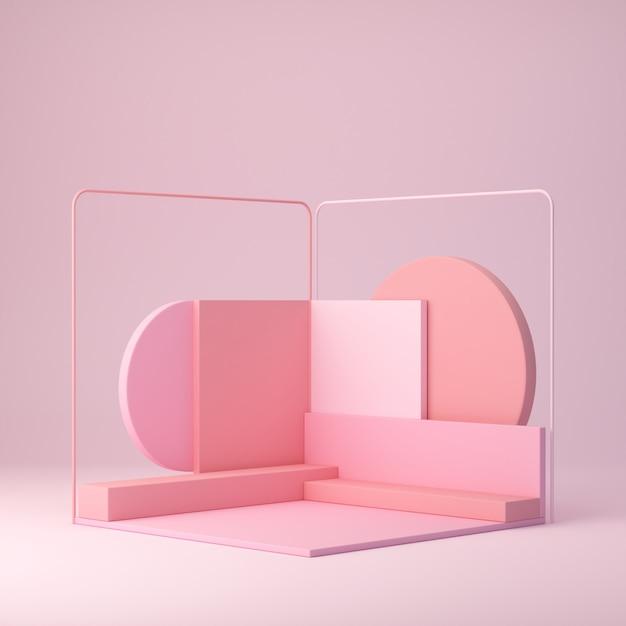 3d rendering, trendy shapes, abstract geometric background, minimal podium Premium Photo