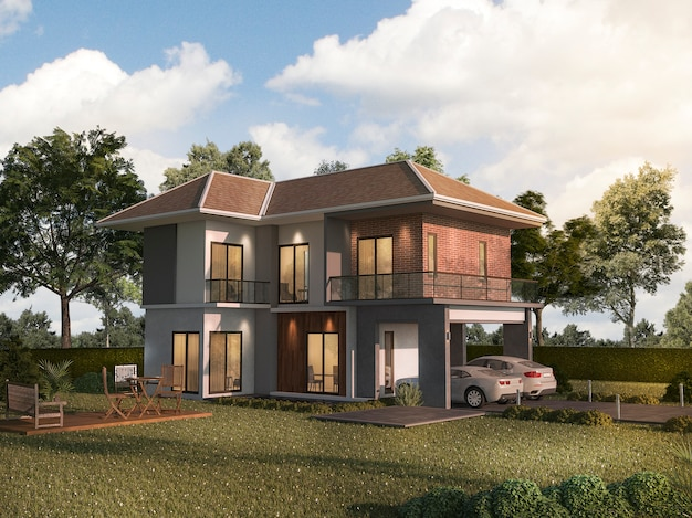 3d rendering twin house with garden terrace Premium Photo