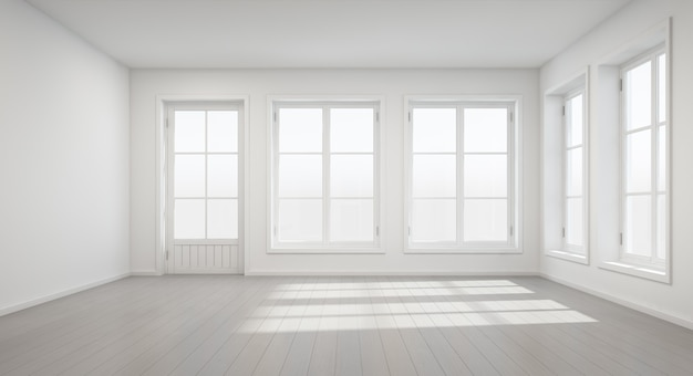 3d rendering of vintage white room with door and window in new home. Premium Photo