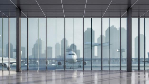Зона ожидания 3d рендеринга в аэропорту иллюстрация терминала Premium Фотографии