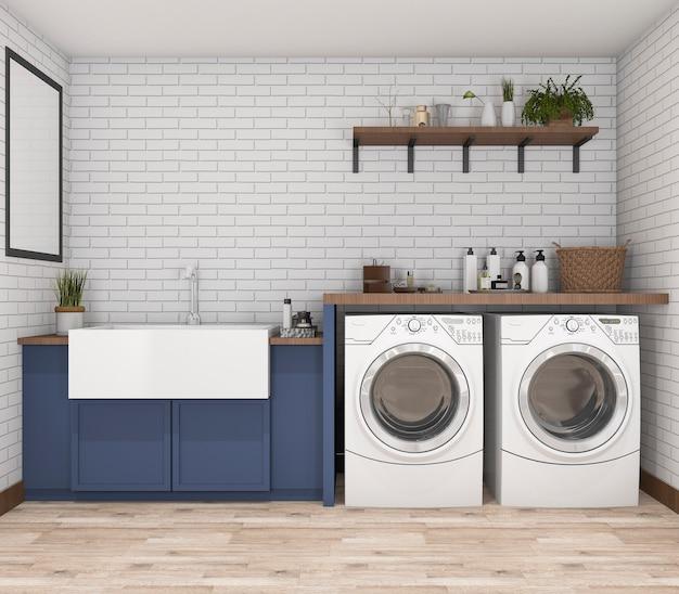 3d rendering washing machine in vintage laundry room Premium Photo