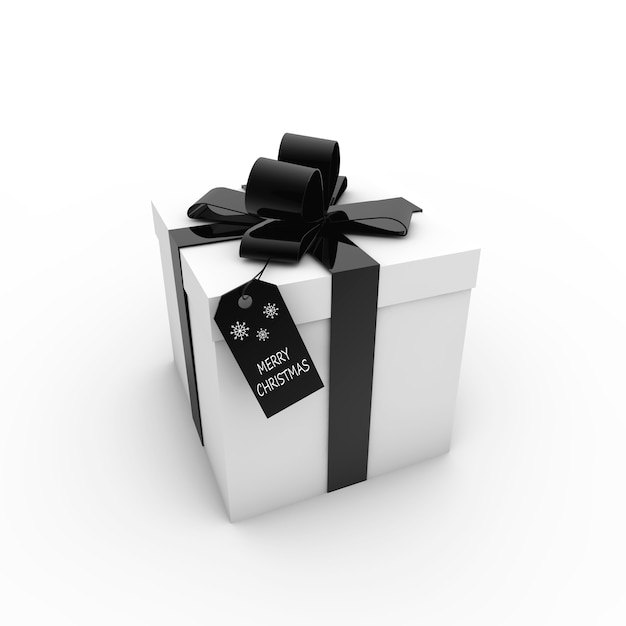 3d rendering of a white gift box with black ribbon and a tag with  text