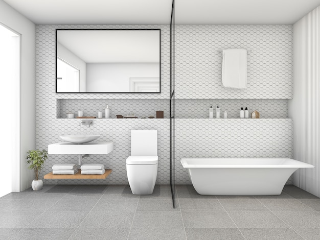 3d rendering white hexagon tile modern bathroom | Premium ...